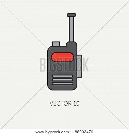 Line flat color vector military icon - radio set. Army equipment and weapons. Cartoon style. Assault. Soldiers. Armament. Ammunition. Vector illustration and element for your design , wallpaper.