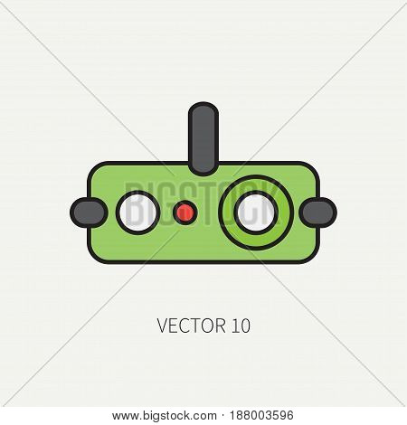 Line flat color military icon - night-vision device. Army equipment and weapons. Cartoon style. Assault. Soldiers. Armament. Ammunition. Vector illustration and element for your design , wallpaper.