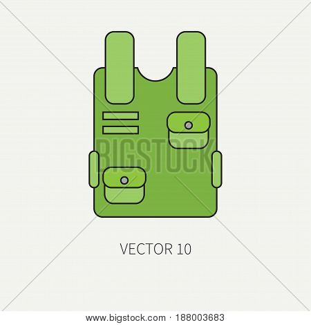 Line flat color vector military icon bulletproof vest. Army equipment and weapons. Cartoon style. Assault. Soldiers. Armament. Ammunition. Vector illustration and element for your design , wallpaper.