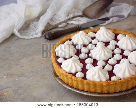 Raspberries Tart Pie With Meringue Cream. Homemade Cake On Light Background.