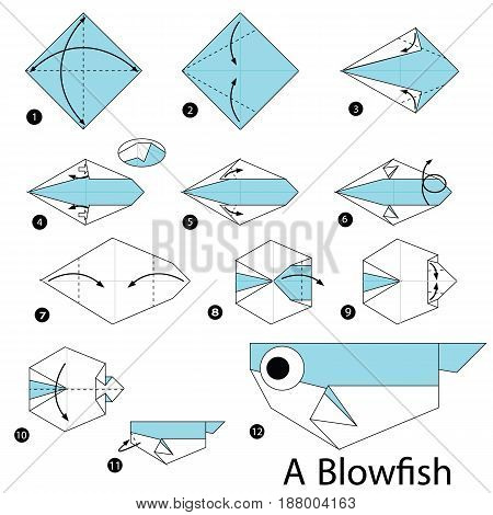 Step by step instructions how to make origami A Blow fish.