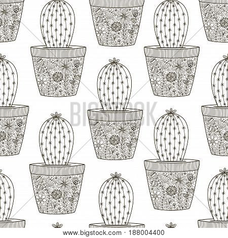 Doodle cactus seamless patten. Black and white background. Great for coloring book, T-shirt and textile design. Vector illustration