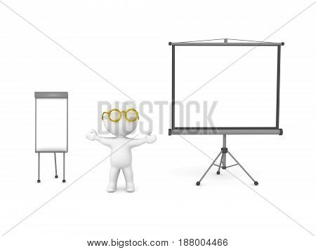 3D Character showing white board and projector screen. Image depicting public speaking presentation.