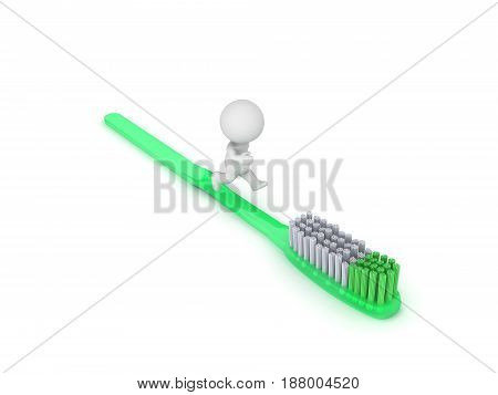 3D Character running on tooth brush. The tooth brush is green and large.