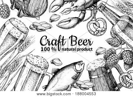 Beer vector frame banner. Alcohol beverage hand drawn illustration. Beer glass, mug, wooden mug, bottle, barrel, snack, hop, wheat, fish, crayfish engraving Great for bar pub menu oktoberfest