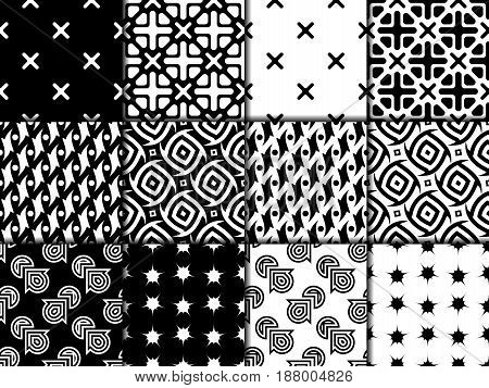 Black and white collection of seamless patterns. Geometric backgrounds. Vector illustration
