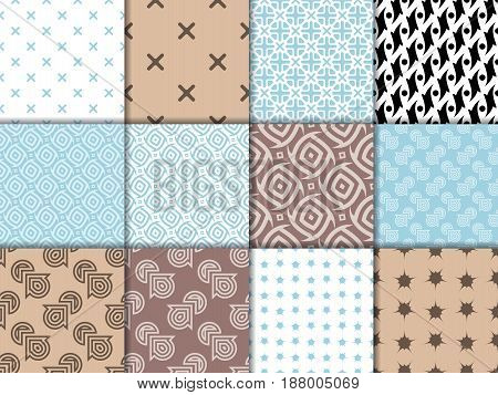 Geometric patterns. Colored collection of backgrounds. Vector illustration
