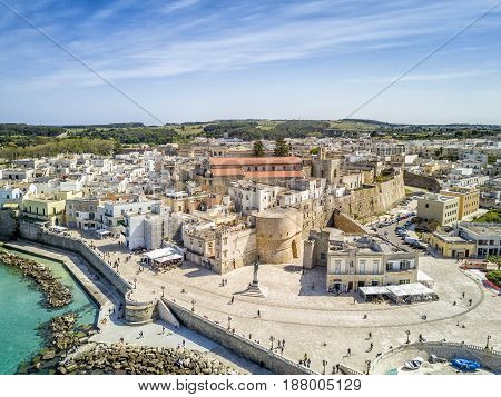 Otranto with historic Aragonese castle in the city center Apulia Italy poster
