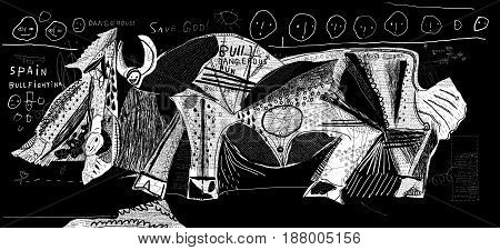 The symbolic image of bullfight in which the bull defeated a bullfighter