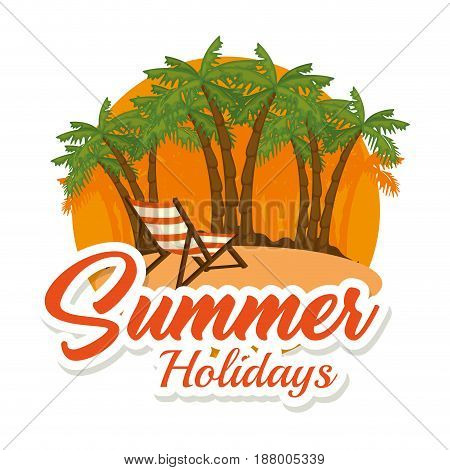 Palm trees and foldable chair on the beach icon with summer holidays sign over white background. Vector illustration.