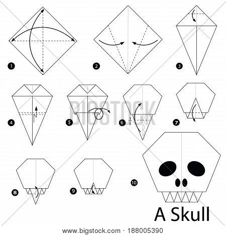 Step by step instructions how to make origami A Skull.