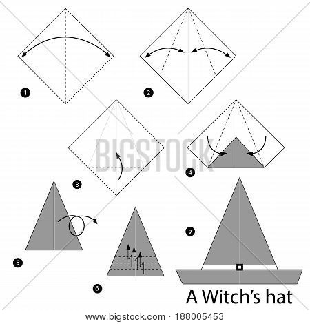 step by step instructions how to make origami a Witch's Hat.