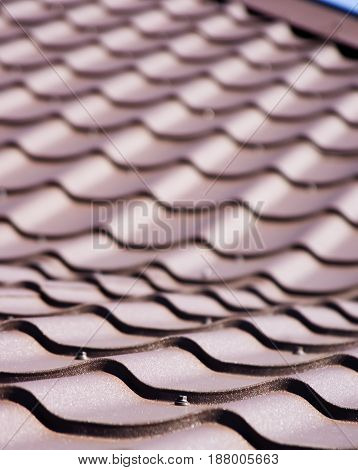 Brown roof of metal roofing Ripple Tiling