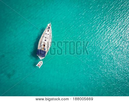 White Yacht Berthed On Adriatic Sea, Italy