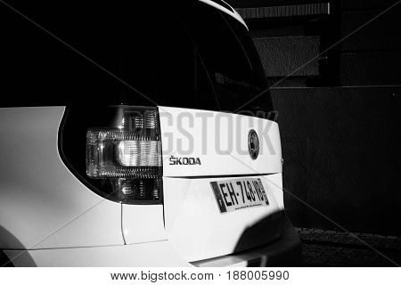 STRASBOURG; FRANCE - MAR 2; 2017: Rear view of Skoda Yeti car parked on a street. The Skoda Yeti is a compact SUV designed and built by the Czech car manufacturer Skoda Auto. It was introduced at the 2009 Geneva Motor Show