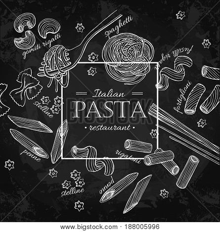 Italian pasta restaurant vector vintage illustration. Hand drawn chalkboard banner. Great for menu, banner, flyer, card, business promote.
