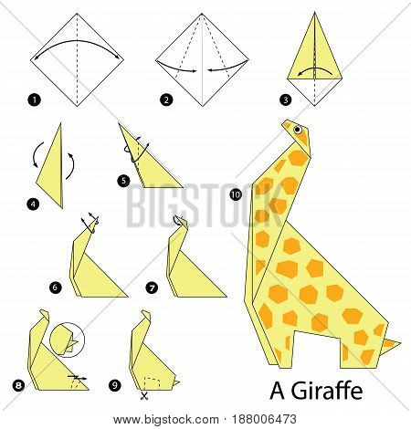 Step by step instructions how to make origami A Giraffe.
