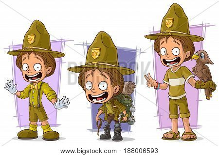 Cartoon young smiling boyscout ranger and tourist character vector set