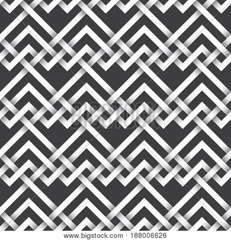 Abstract repeatable pattern background of white twisted strips. Swatch of intertwined zigzag and straight lines.Seamless pattern with volume effect.
