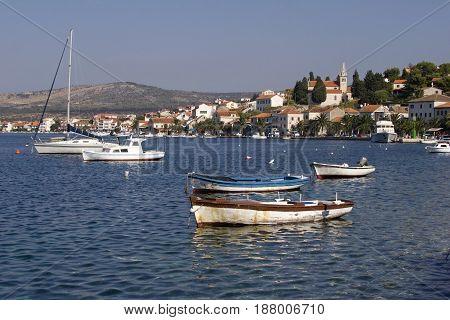 Wooden fishing boats in port of Rogoznica on Adriatic coast in Croatia