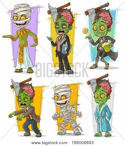 Cartoon green funny zombie and mummy monster character vector set