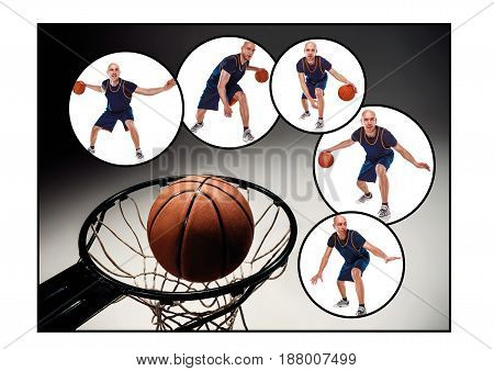 The collage from images of basketball player with a ball against gray studio background
