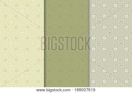 Geometric seamless pattern. Green olive background with circle elements. Vector illustration