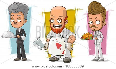 Cartoon funny waiter and butcher restaurant worker character vector set