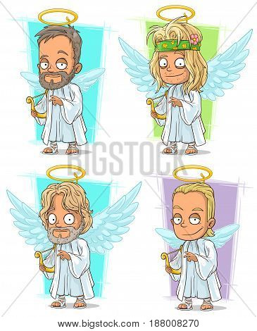 Cartoon cool angels with golden nimbus and harp character vector set