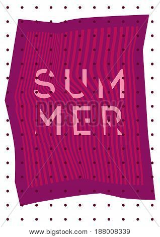 Summer typographic poster design on misshapen lines abstract geometric background. Vector illustration.