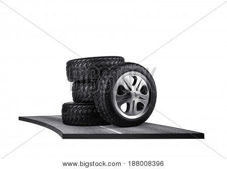 Four car tires on the asphalt. isolated on white. 3d rendering