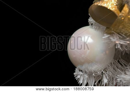 White Christmas Tree Closeup With Gold Decorations