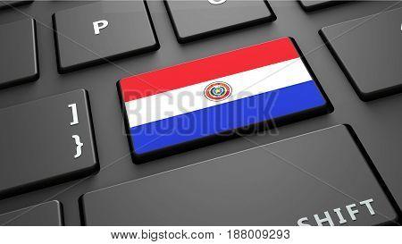 Paraguay flag keyboard enter button 3d render