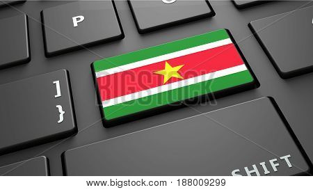 suriname flag keyboard enter button 3d render