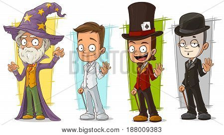 Cartoon standing cool magician wizard and mime character vector set