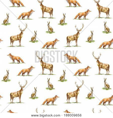 Seamless pattern of a deer, hare and fox.Forest animals.Watercolor hand drawn illustration.White background.