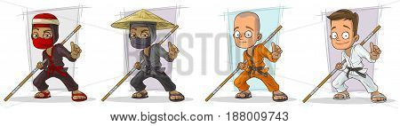 Cartoon karate boys and ninjas with wooden stick character vector set