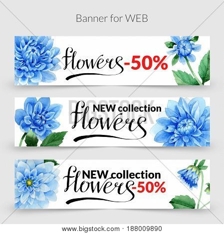 Wildflower Blue dahlia promo sale banner template in a watercolor style isolated. Aquarelle wildflower Blue dahlia promo sale banner template for background, texture, wrapper pattern, frame or border.
