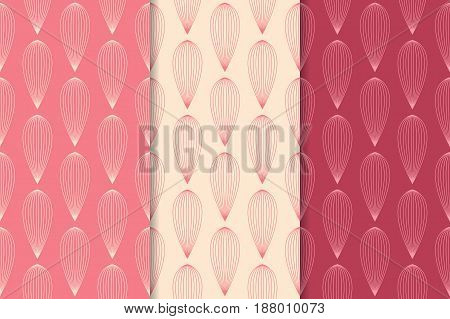 Abstract colored seamless pattern. Red collection of backgrounds with drop shape elements. Vector illustration