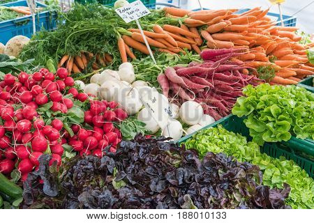 Radish, carrots and other vegetables for sale at a market