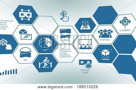 Stylized pictogram of new device virtual augmented reality. Tap screen concept with flat logo digital AR technology future. simulator interactive system cyber space. Vector illustration