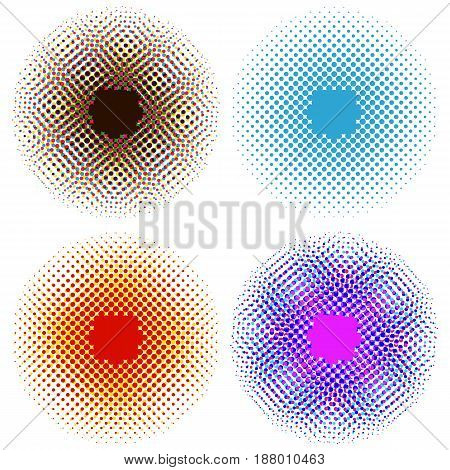 Set of Bright Abstract Circles Frames Design Elements. Perfect halftones on a white background for your design. vector illustration