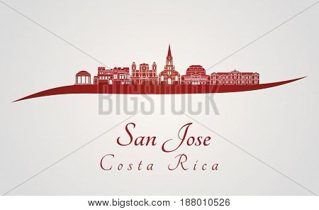 San Jose Skyline In Red
