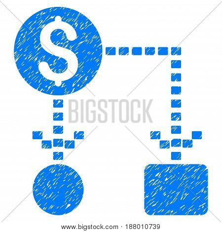 Grunge Cashflow Scheme icon with grunge design and unclean texture. Unclean vector blue pictogram for rubber seal stamp imitations and watermarks. Draft sign symbol.
