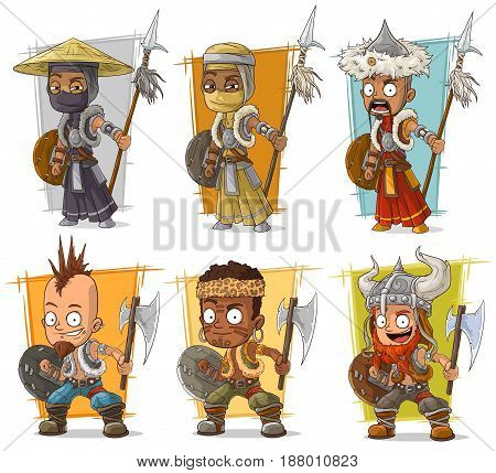 Cartoon cool different warriors with shield spear and axe character vector set
