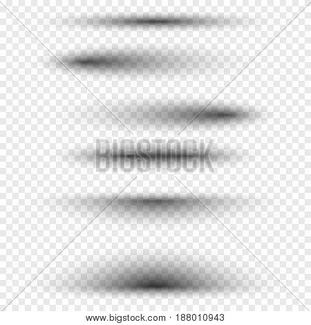 Oval or round shadows vector realistic isolated set on transparent background.