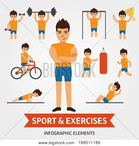 Sport and exercises infographic elements. Sportsman is engaged in the gym, pushes, hold the dumbbell, shakes the press, riding a bike, winner of championship, holding award. Boy in the gym vector flat