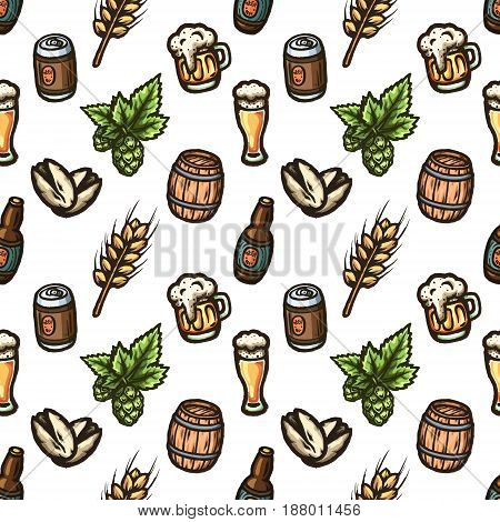 Hand drawn seamless pattern on a beer theme. Vector texture.