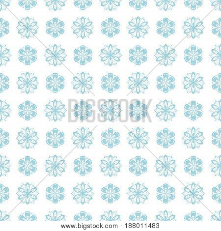 Seamless pattern with flower element. Blue abstract wallpaper. Vector illustration