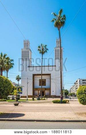 RABAT,MOROCCO - APRIL 8,2017 - View at the Cathedral of St.Peter in Rabat. Rabat is the capital city of Morocco and its second largest city .